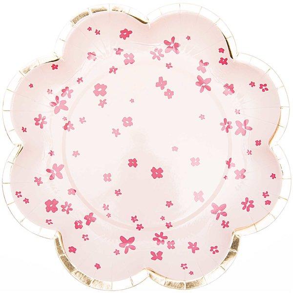 YEY! Let's Party Pappteller Blume Blüten rosa 21cm 12 Stück