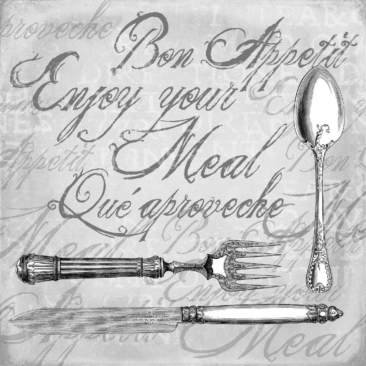 Ambiente Serviette enjoy your meal grau 33x33cm 20 Stück