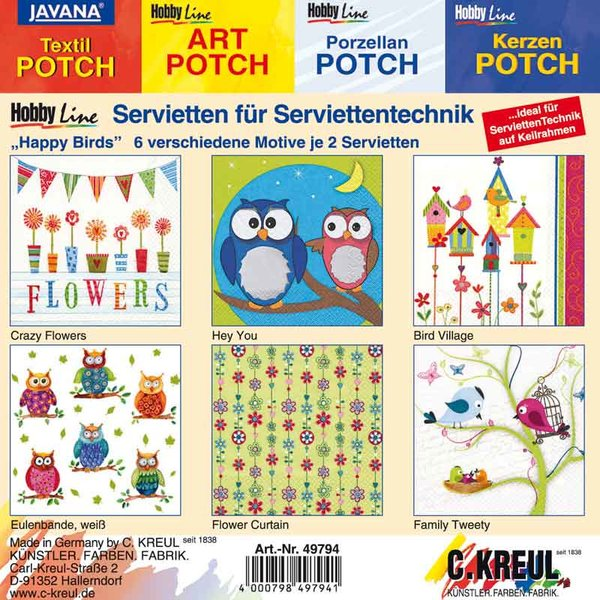 KREUL Servietten Mixpackung Happy Birds 12 Stück