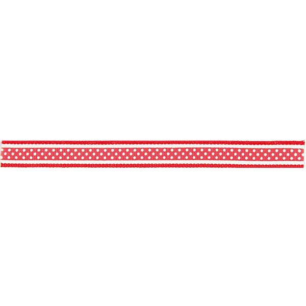 Rico Design Ribbon Muster weiß-rot 2m