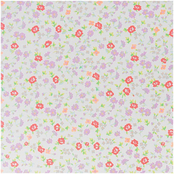Rico Design Stoff Blumen weiß-neonorange 50x160cm