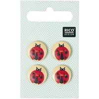 Rico Design Knöpfe mit Marienkäfern 1,5cm 4 Stück