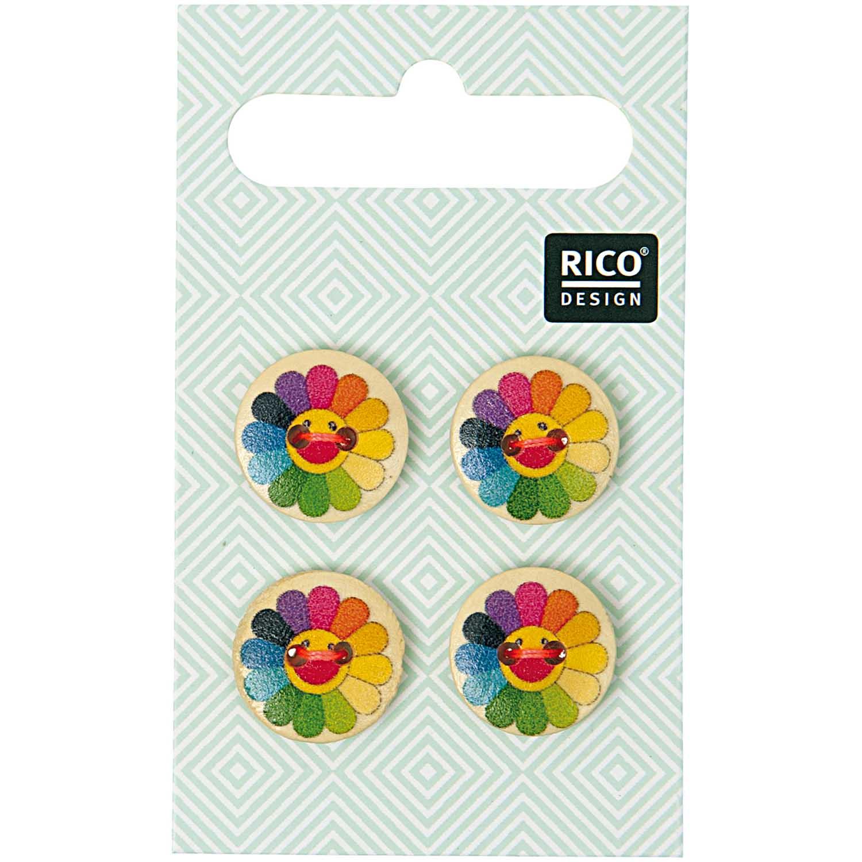 Vier 2-Lochknöpfe mit Sonnenblumen in Regenbogenfarben