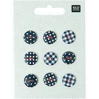 Rico Design Knopf Mix Vichy-Punkte schwarz-weiß 1,4cm 9 Stück
