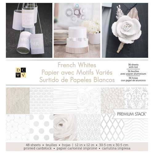 DECOHOBBY Scrapbooking Block French Whites 30,5x30,5cm 48 Blatt