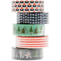 Paper Poetry Tape Set blau-rot 1,5cm 10m 5 Stück