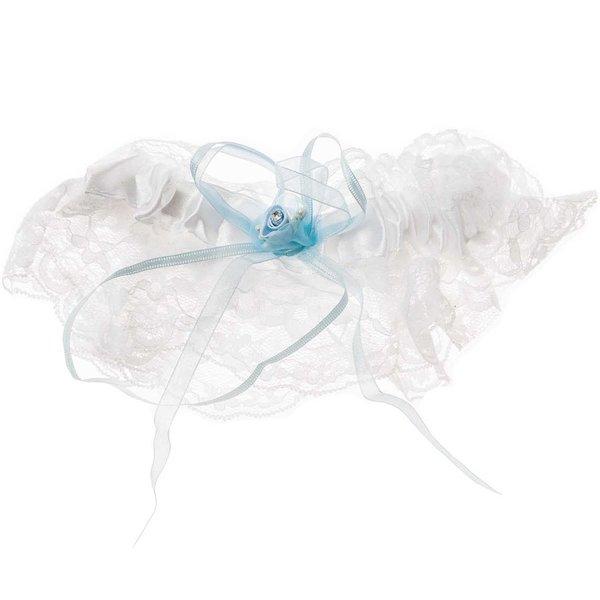 wholesale dealer 8d65b d739f Strumpfband mit Spitze weiß-hellblau
