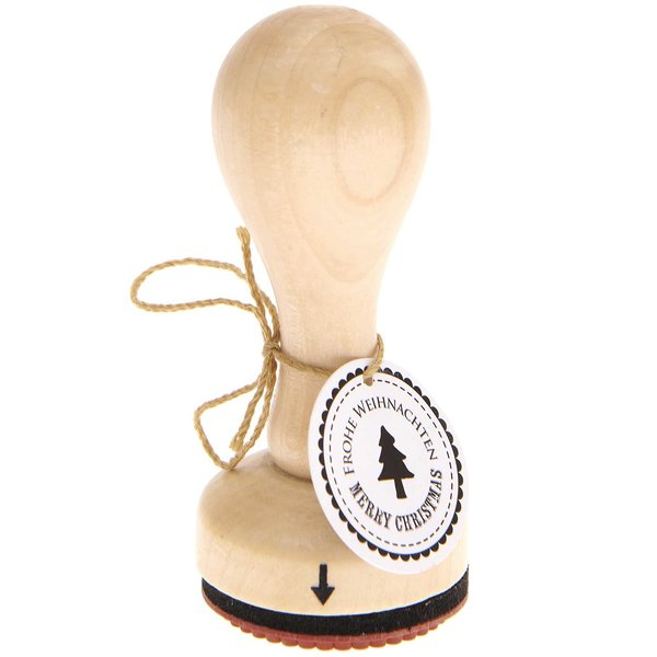 Rico Design Stempel Weihnachtsbaum Frohe Weihnachten Ø=3,5cm rund
