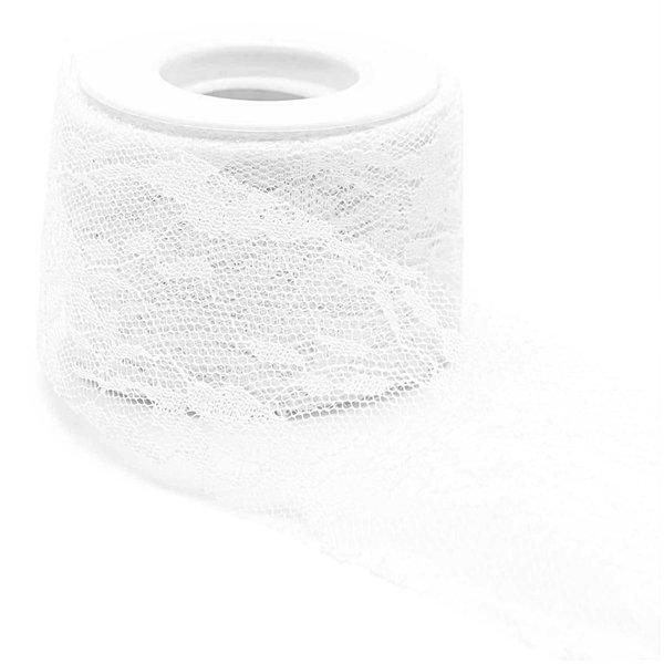 Spitzenband mit Blüten weiß 5cm 10m