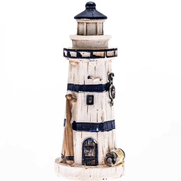 Leuchtturm mit Paddel weiß-blau 10cm