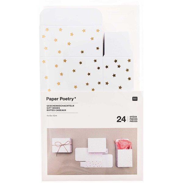 Paper Poetry Adventskalender Boxen weiß-gold 4x8x10cm 24 Stück