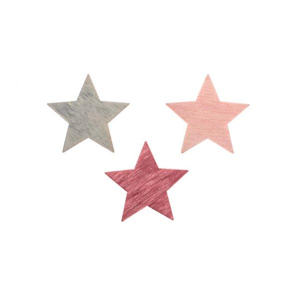 Sternstreu pink-rosa-grau 2cm 24 Stück