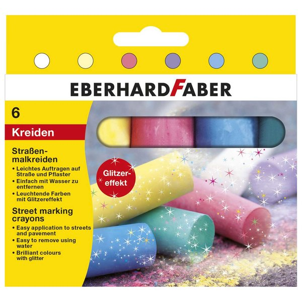 Eberhard Faber Straßenmalkreide Glitzer 6 Stück