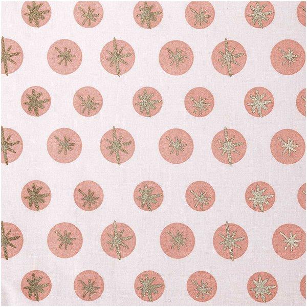 Rico Design Druckstoff Schneeflocken rosa-gold 140cm
