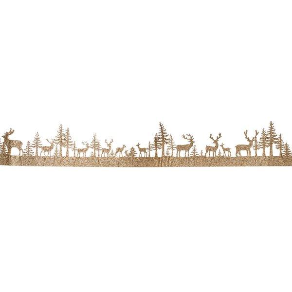 Filzband Winterlandschaft mit Rentieren gold-glitter 1m