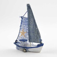 Segelboot weiß-blau 11x9x2,2cm