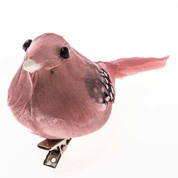 Deko Vogel rosa 11cm