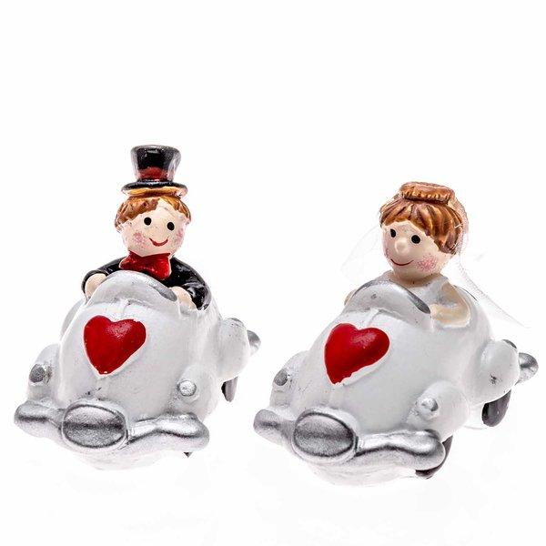 Brautpaar in Autos 4,5x2,5x4cm