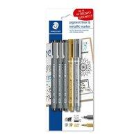 Staedtler Pigment Liner 308 und Metallic Marker Set 5teilig