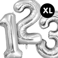 YEY! Let's Party Folienballon Zahl silber 86cm