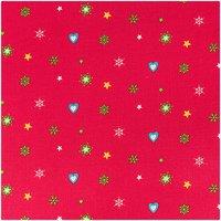 Rico Design Stoff Weihnachten Herzen und Sterne rot 160cm