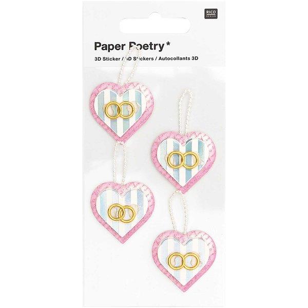 Paper Poetry 3D-Sticker Herzen mit Ringen 4 Stück