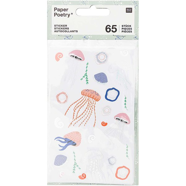 Paper Poetry Sticker Mermaid Quallen 65 Stück