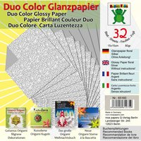 Nice Papers Glanzpapier floral silber 15x15cm 80g/m² 32 Blatt