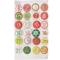 Adventskalender Zahlen rot-grün-weiß mit Klebepunkt 2,5cm