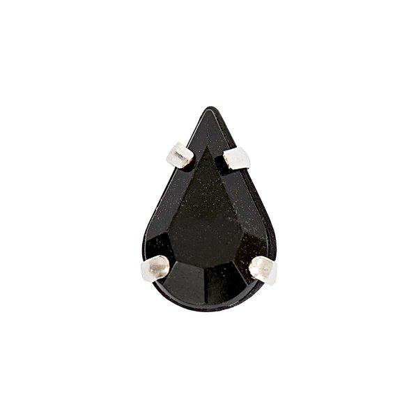 Jewellery Made by Me Aufnähsteine gefasst schwarz Tropfen 8x13x6mm 10 Stück