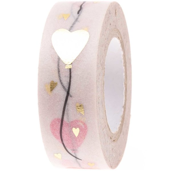Paper Poetry Tape Herzluftballons puder-gold 1,5cm 10m
