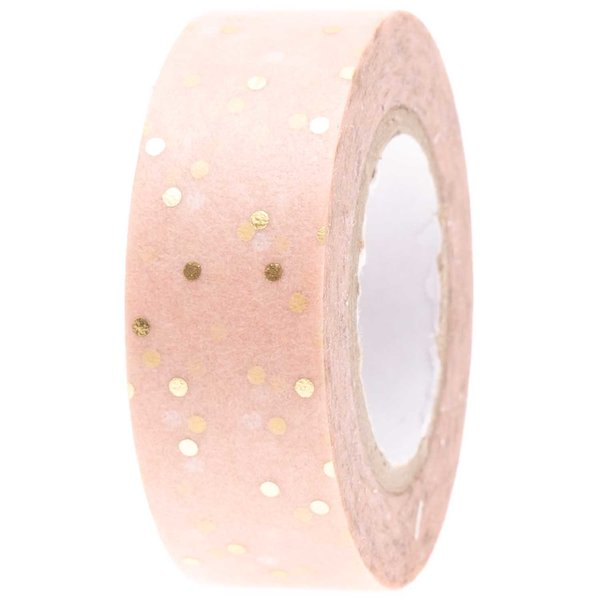 Paper Poetry Tape Punkte puder-gold 1,5cm 10m
