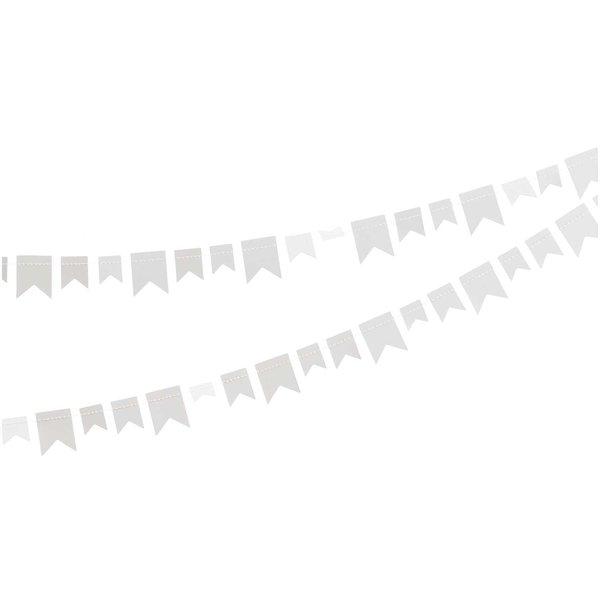 Paper Poetry Girlande Wimpel weiß Papier 2,7m
