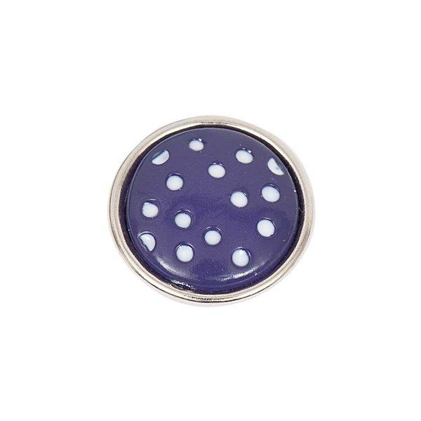 Rico Design Knopf Punkte lila-weiß 14mm