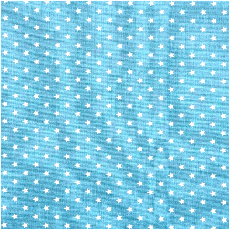Hellblauer Druckstoff mit weißen Sternen von Rico Design