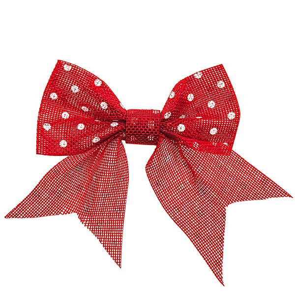 Geschenkschleife Punkte rot-weiß 14x12cm 2 Stück