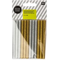 Rico Design Heißklebesticks glitter gold-silber 0,7x10cm 12 Stück