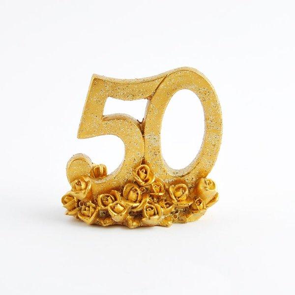 Deko Zahl 50 gold 6,8cm