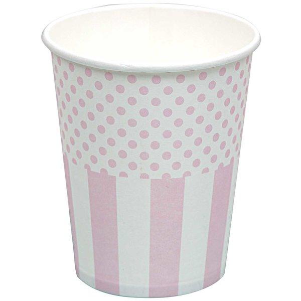 Rico Design Pappbecher rosa-weiß 200ml 12 Stück