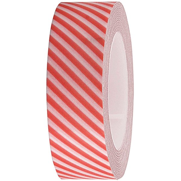 Rico Design Tape weiß-neonrot gestreift 15mm 10m