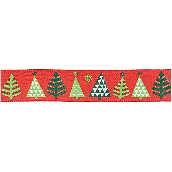 Rico Design Webband Weihnachtsbäume rot 2,8cm