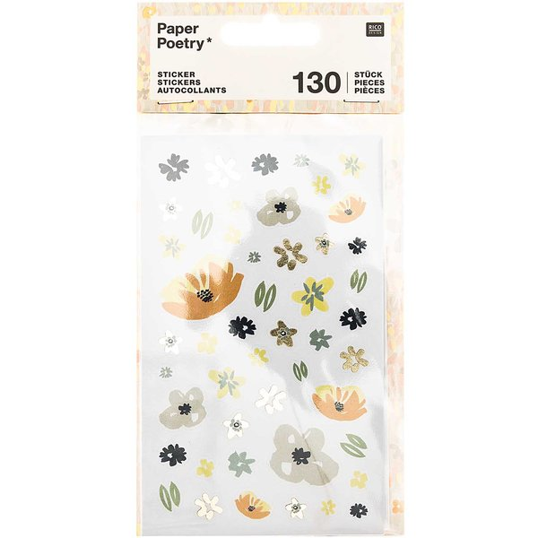 Paper Poetry Sticker Crafted Nature Blume blau 130 Stück