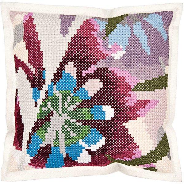 Rico Design Gobelin Kissen Blumenausschnitt zum Sticken 42x42cm