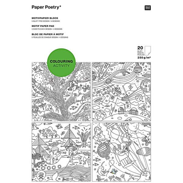 Paper Poetry Motivpapier Block Colouring Activity 21x30cm 20 Blatt
