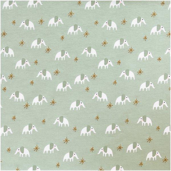Rico Design Jerseystoff Baby Collection Elefant mint-gold 145cm
