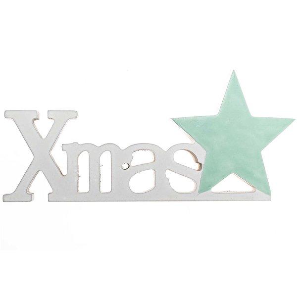 Schriftzug XMAS weiß-mint 17x7,5cm