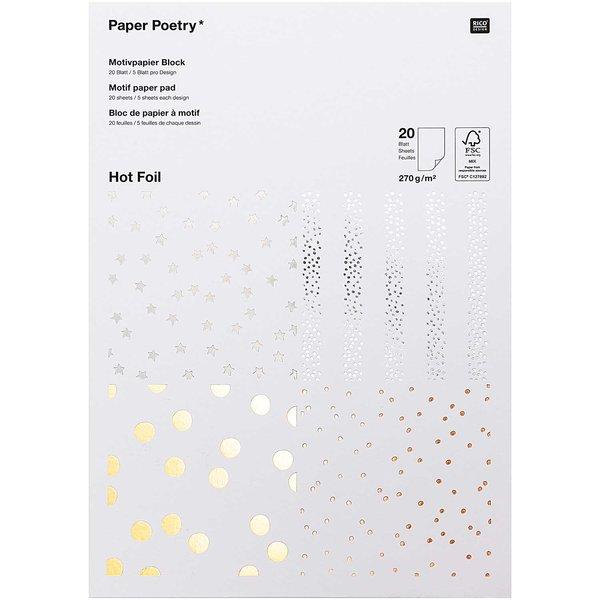 Paper Poetry Motivpapier Block Punkte 270g/m² 20 Blatt Hot Foil
