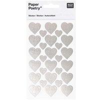 Paper Poetry Sticker verzierte Herzen silber