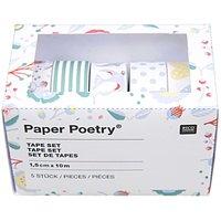 Paper Poetry Tape Set blau  1,5cm 10m 5 Stück