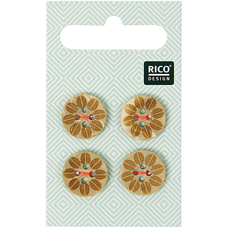Vier Holzknöpfe mit Blütenmuster von Rico Design